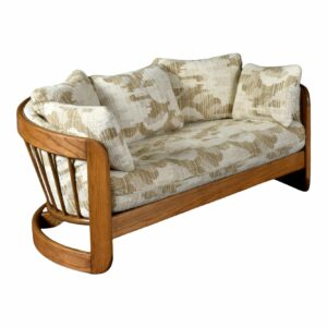 Howard Solid Oak Wood Frame Barrel Shaped Nineteen-Laties Loveseat Sofa