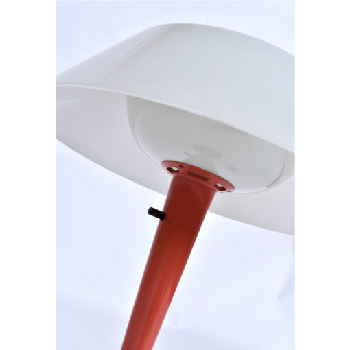 Lightolier cone shaped mushroom lamp in a mauve / salmon color.