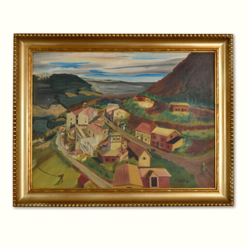 1949 Village in The Valley Landscape Painting by Thompson