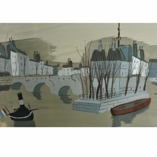 Antoine Villard Bridge Painting La Pont Rhône and Saône rivers in France.
