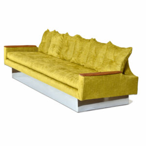 104″ Restored Custom-Made Pearsall Style Gondola Sofa Couch on Mirrored Base