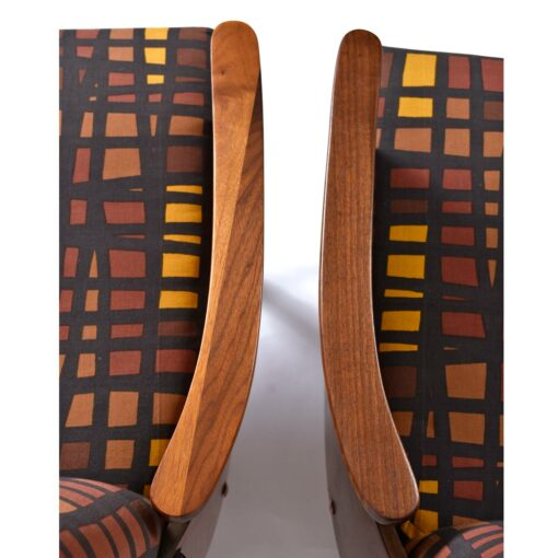 Dramatic High Back Adrian Pearsall Style Arm Chairs