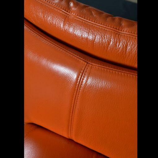 Jaymar Orange Leather Swivel Pod Chairs
