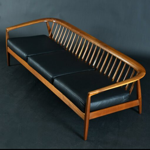 Folke Ohlsson Model 72-S Sofa for Dux Restored in Black Leather