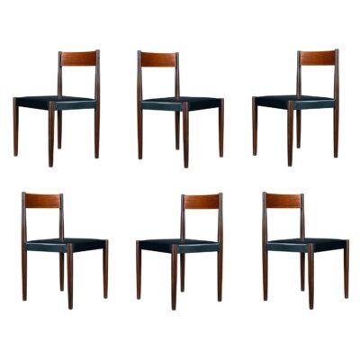 Danish teak dining chairs designed by Poul Volther for Frem Rojle.